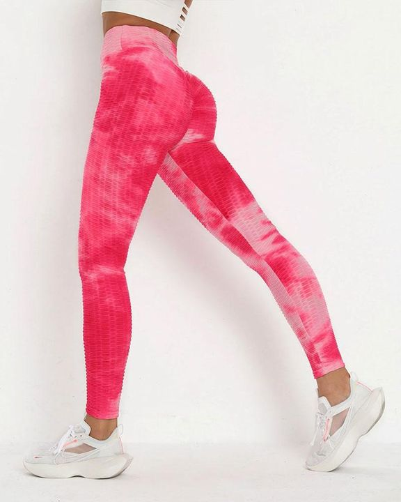Strawberry Soda Tie Dye Textured Butt Lifting Ruched Leggings gallery 1