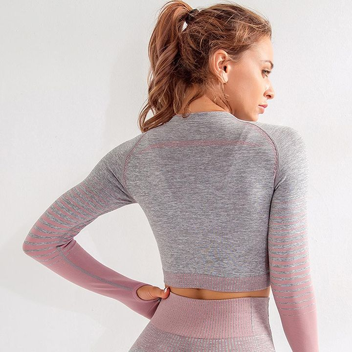Seamless Striped Crop Sports Top with Thumb Holes gallery 3