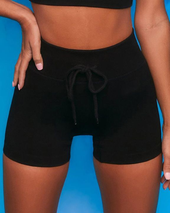 Ribbed Knit Drawstring Waist Butt Lifting Seamless Sports Shorts gallery 7