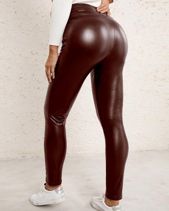 High Waist Butt Lifting PU Pants gallery 5