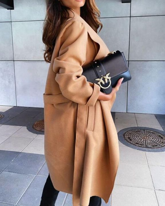 Solid Belted Pocket Detail Waterfall Coat gallery 10