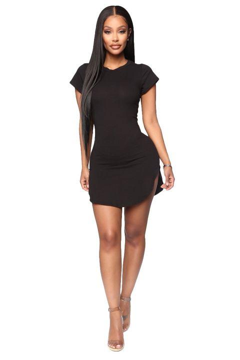 Solid Scoop Neck Side Slit Mini Dress gallery 7