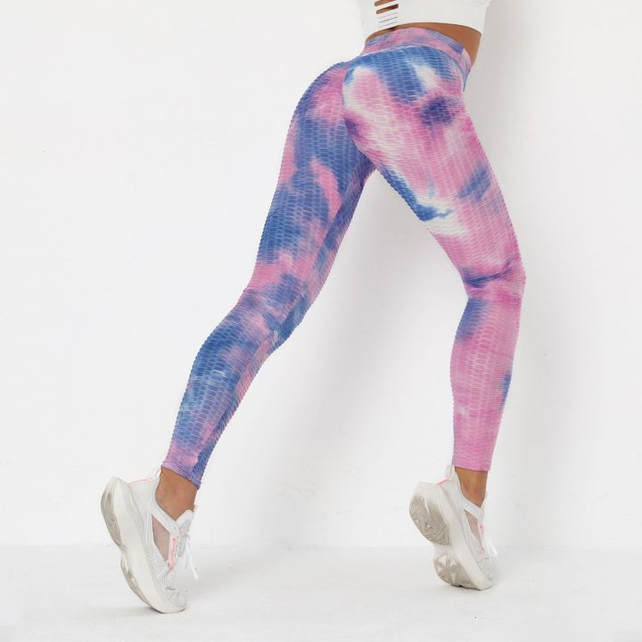 Lilac Tie Dye Textured Butt Lifting Ruched Leggings gallery 8