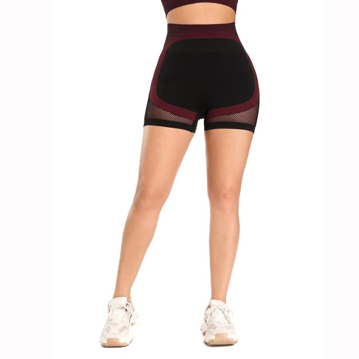 Mesh Panel Colorblock Wide Waistband Sports Shorts gallery 9