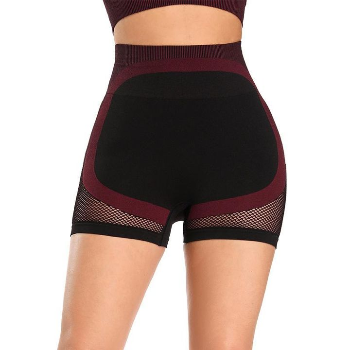 Mesh Panel Colorblock Wide Waistband Sports Shorts gallery 4