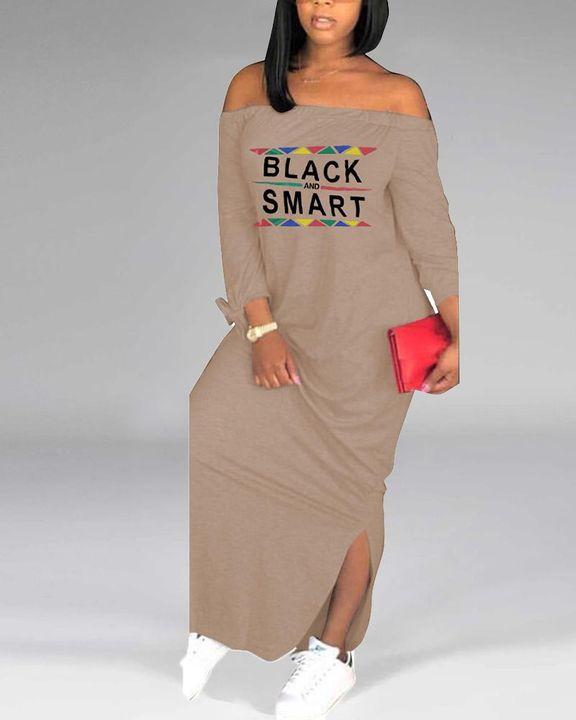 Letter Print Off Shoulder Split Hem Maxi Dress gallery 6