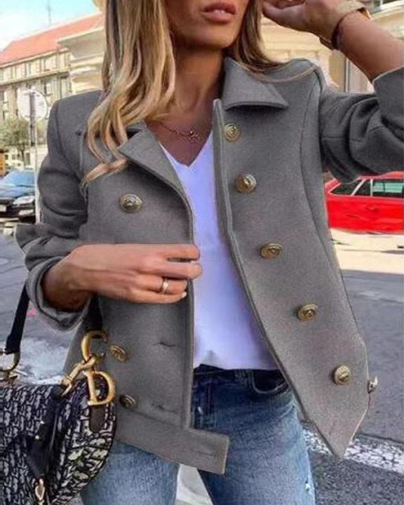 Solid Double Breasted Lapel Neck Jacket gallery 2