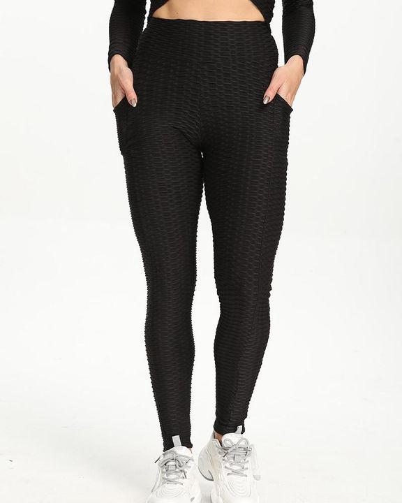 Dual Pocket Side Textured Ruched Wide Waistband Sports Leggings gallery 6