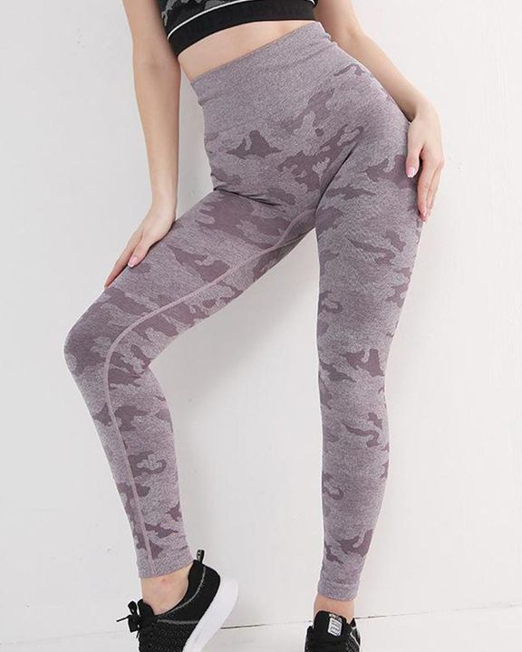 High Waist Camouflage Hip Lifting Compression Sports Leggings gallery 2