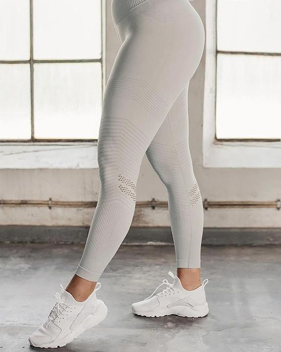 Hollow Out Ribbed Seamless Wide Waistband Sports Leggings gallery 5