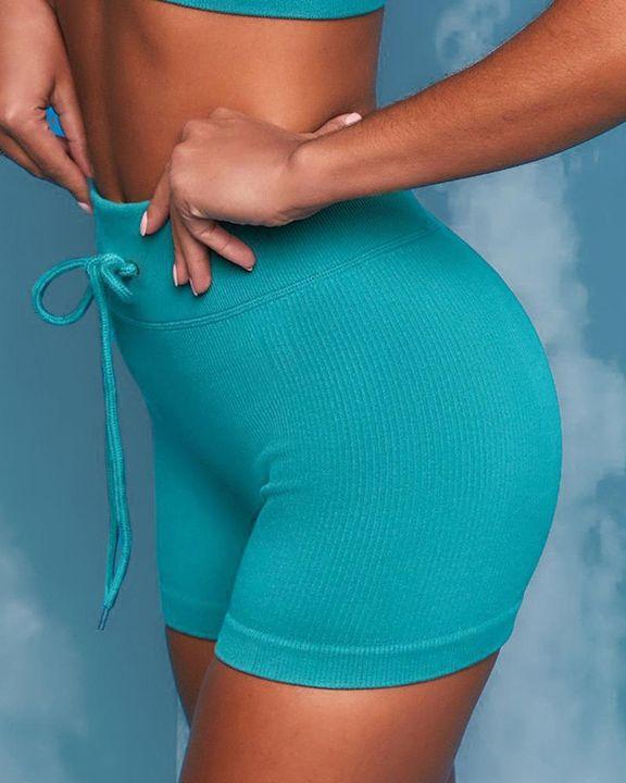Ribbed Knit Drawstring Waist Butt Lifting Seamless Sports Shorts gallery 11