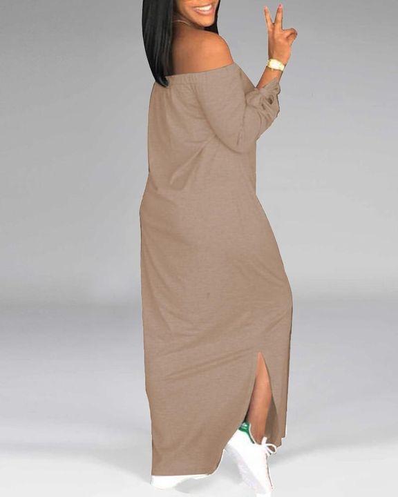Letter Print Off Shoulder Split Hem Maxi Dress gallery 16