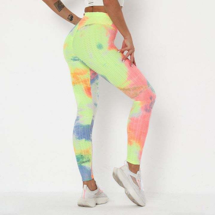 Watercolor Tie Dye Textured Butt Lifting Ruched Leggings gallery 2