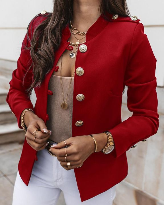Button Up Front Pocket Detail Tailored Jacket gallery 1
