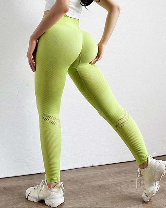 Hollow Out Ribbed Seamless Wide Waistband Sports Leggings gallery 13