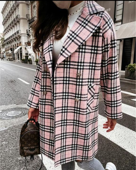 Plaid Print Double Breasted Coat gallery 1