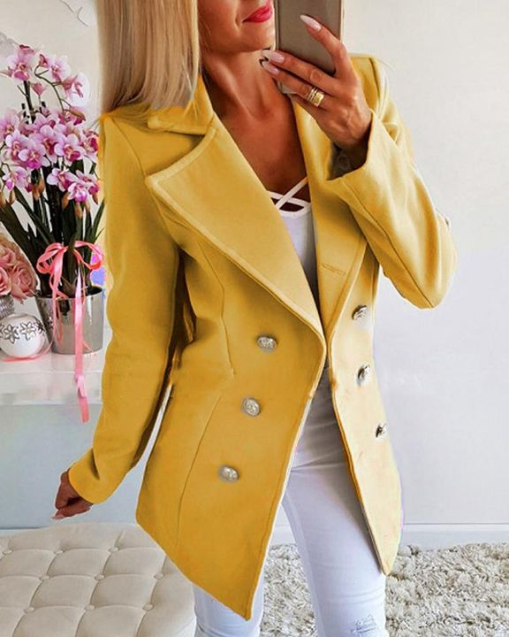 Double Breasted Lapel Neck Coat gallery 1