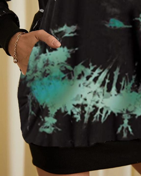 Tie Dye Pocket Detail Hooded Mini Dress gallery 7