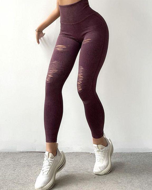 Denim Look Ripped Wide Waistband Sports Leggings gallery 5