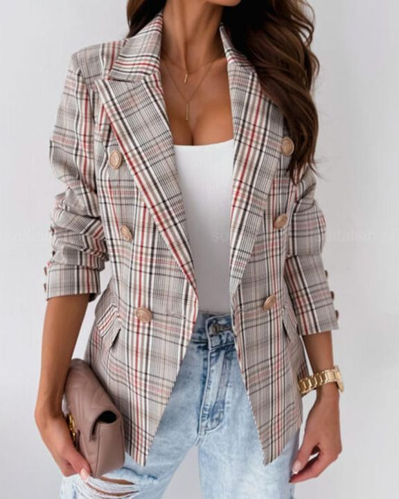 Plaid Print Double Breasted Lapel Neck Blazer gallery 3