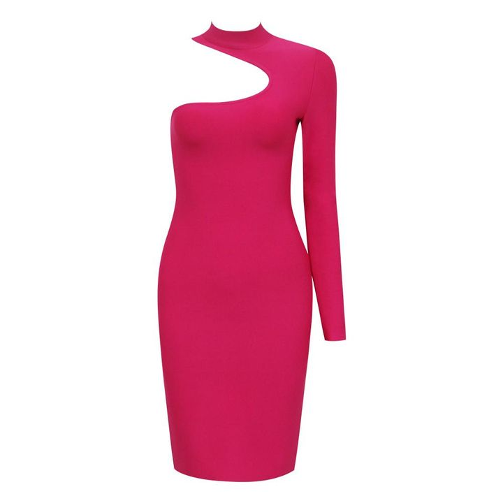 Bandage One Shoulder Cut Out Midi Dress gallery 7