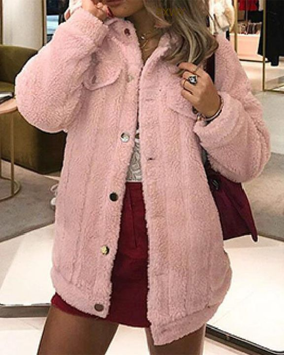 Faux Fur Flap Pocket Button Up Coat gallery 2