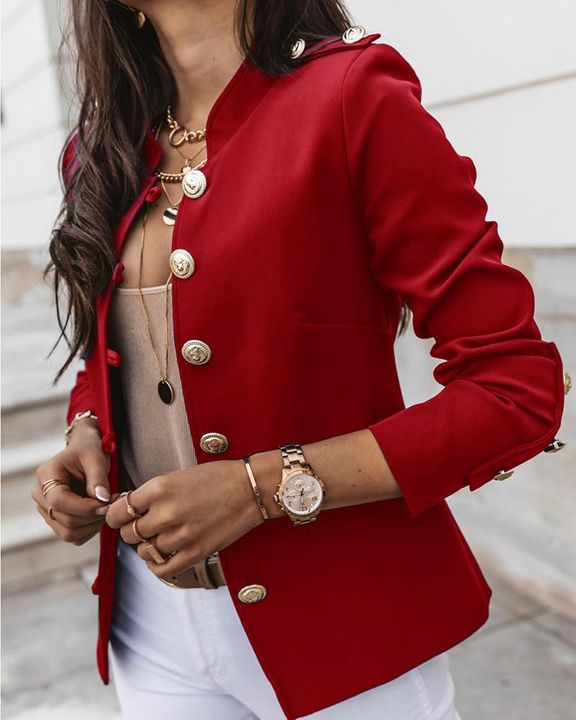 Button Up Front Pocket Detail Tailored Jacket gallery 2