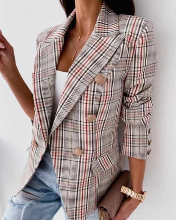 Plaid Print Double Breasted Lapel Neck Blazer gallery 6