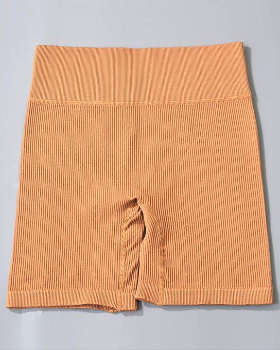 Rib-knit High Waist Butt Lifting Seamless Sports Shorts  gallery 8