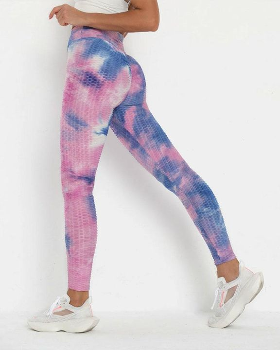 Lilac Tie Dye Textured Butt Lifting Ruched Leggings gallery 1