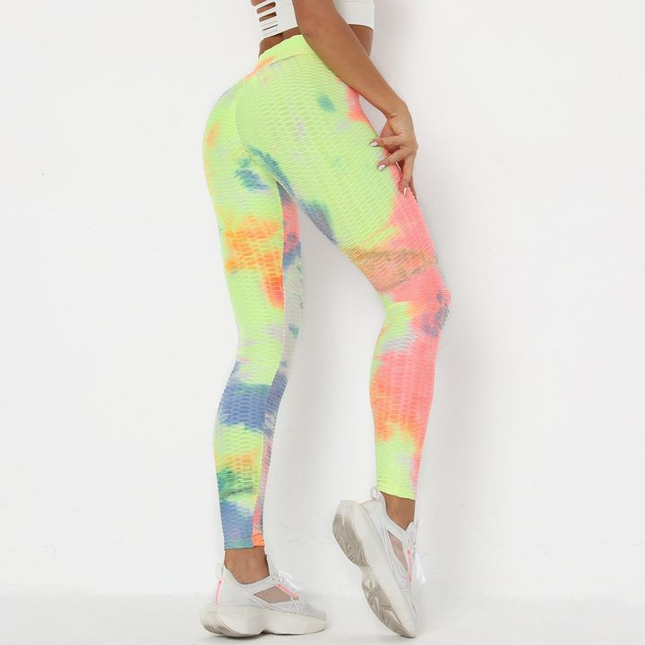 Watercolor Tie Dye Textured Butt Lifting Ruched Leggings gallery 10