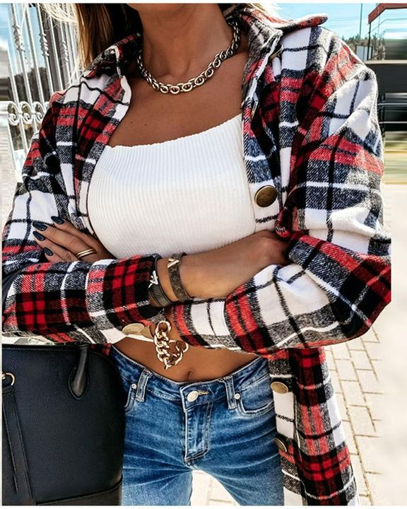 Plaid Print Dual Pocket Button Front Collar Coat gallery 2