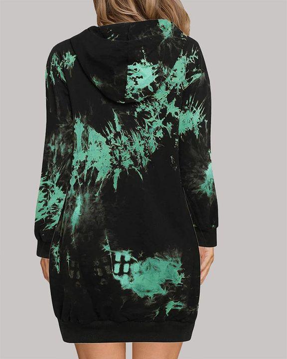 Tie Dye Pocket Detail Hooded Mini Dress gallery 6
