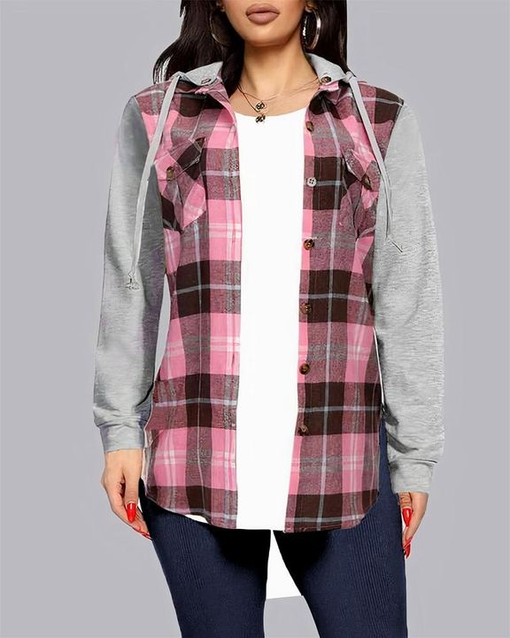 Plaid Patch Pocket Blouse With Removable Hood gallery 1