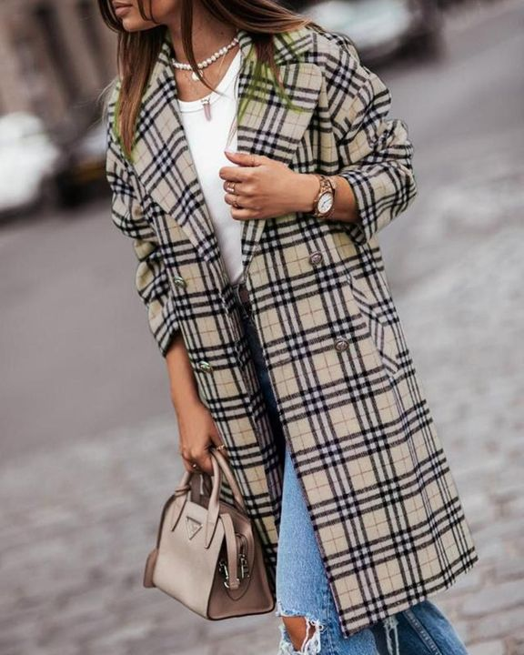Plaid Print Double Breasted Coat gallery 11