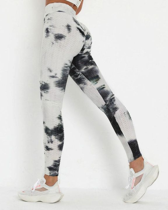 Smoke Tie Dye Textured Butt Lifting Ruched Leggings gallery 1