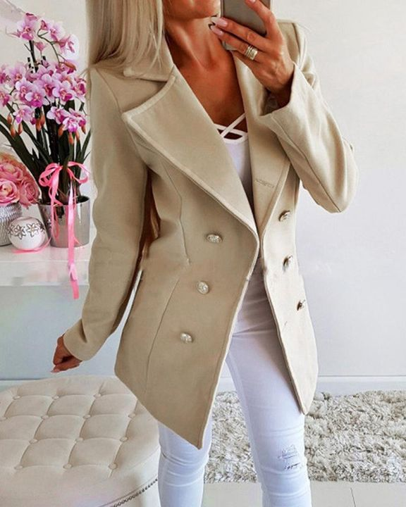 Double Breasted Lapel Neck Coat gallery 2