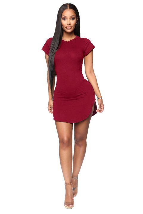 Solid Scoop Neck Side Slit Mini Dress gallery 11