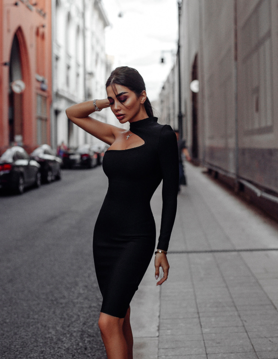 Bandage One Shoulder Cut Out Midi Dress gallery 3
