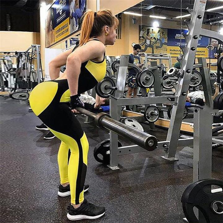 Color Block Mesh Patchwork Fitness Jumpsuit gallery 5