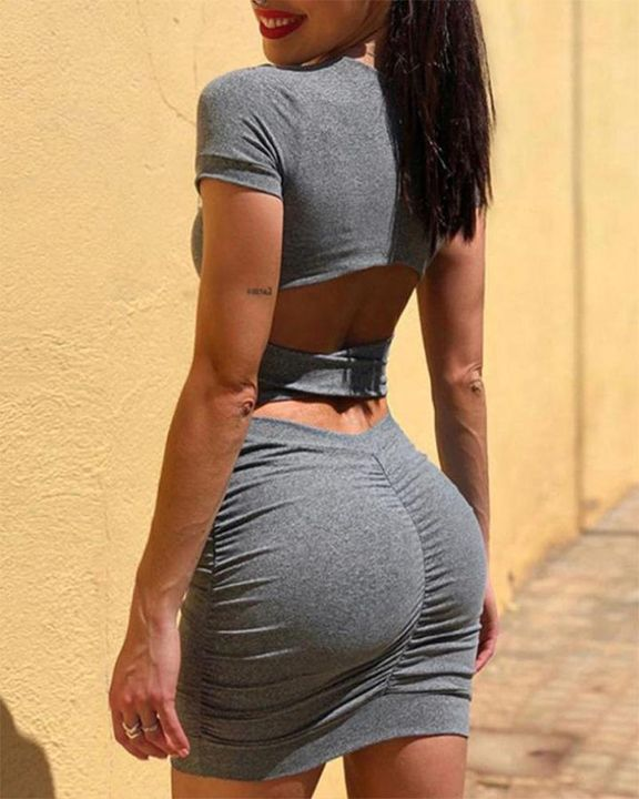 Stretchy Back Cut Out Ruched Mini Dress gallery 1