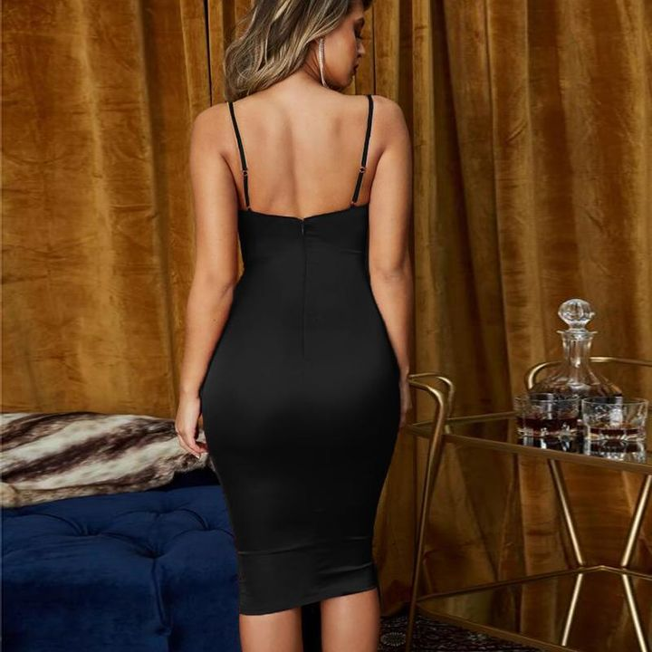 Satin Cut Out Front Cup Detail Midi Dress gallery 9