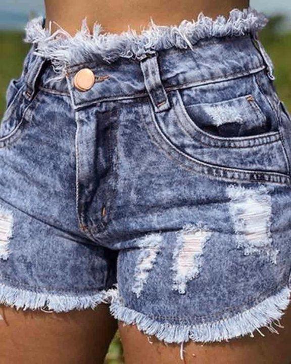 Ripped Frayed Hem High Waist Shorts gallery 2