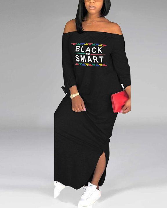 Letter Print Off Shoulder Split Hem Maxi Dress gallery 2