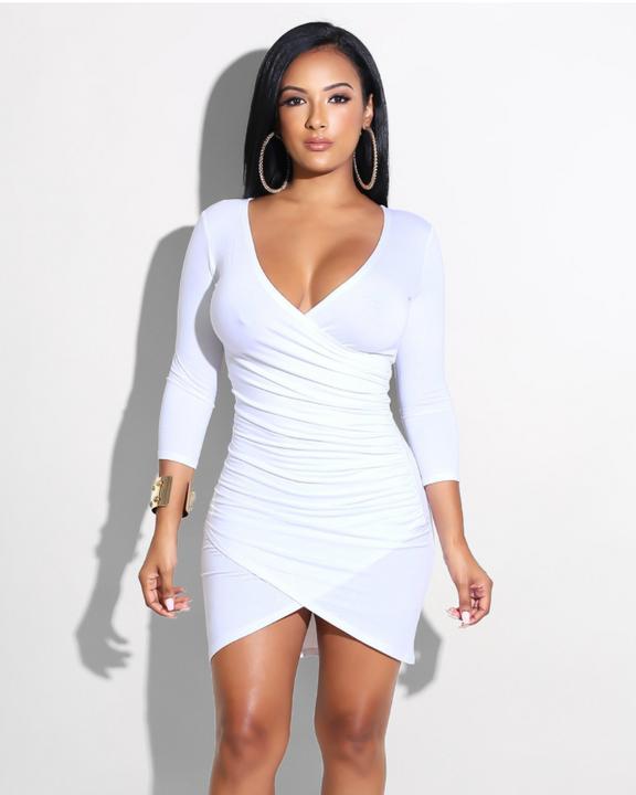 Deep V-Neck Wrap Ruched Irregular Hem Mini Dress gallery 1