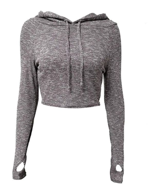 Hooded Crop Sweatershirt with Thumb Holes gallery 1