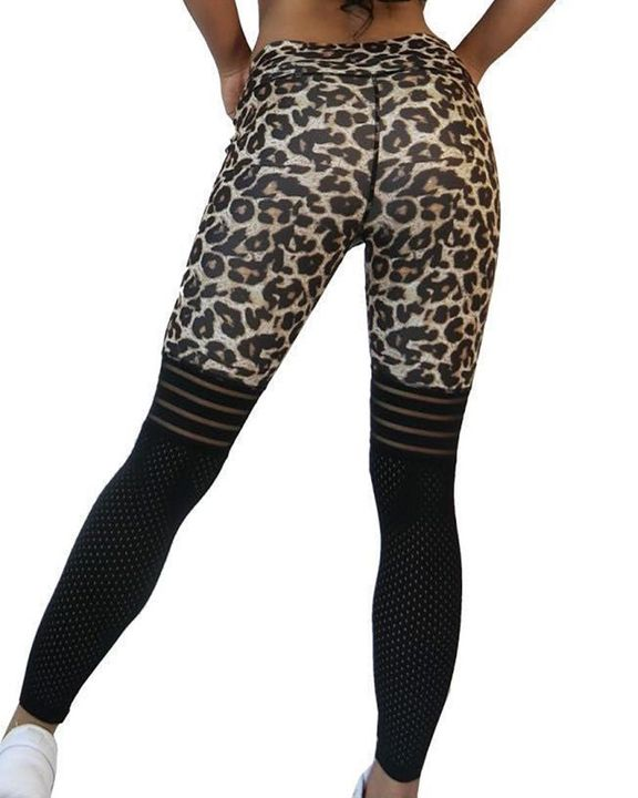 Laser Cut Out Leopard Print Wide Waistband Sports Leggings gallery 6
