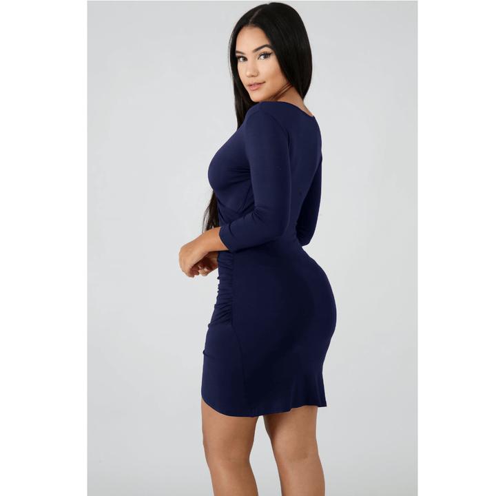 Deep V-Neck Wrap Ruched Irregular Hem Mini Dress gallery 14