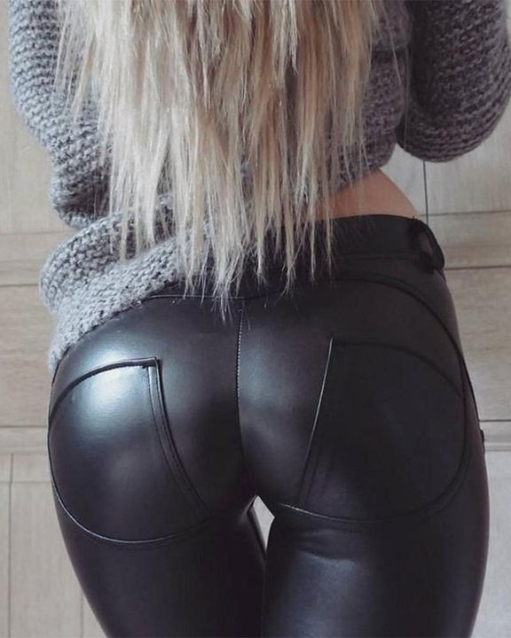 HyperFlex Hip-Lifting Faux Leather Sports Leggings gallery 3