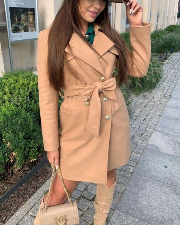 Solid Belted Double Breasted Pocket Detail Coat gallery 5